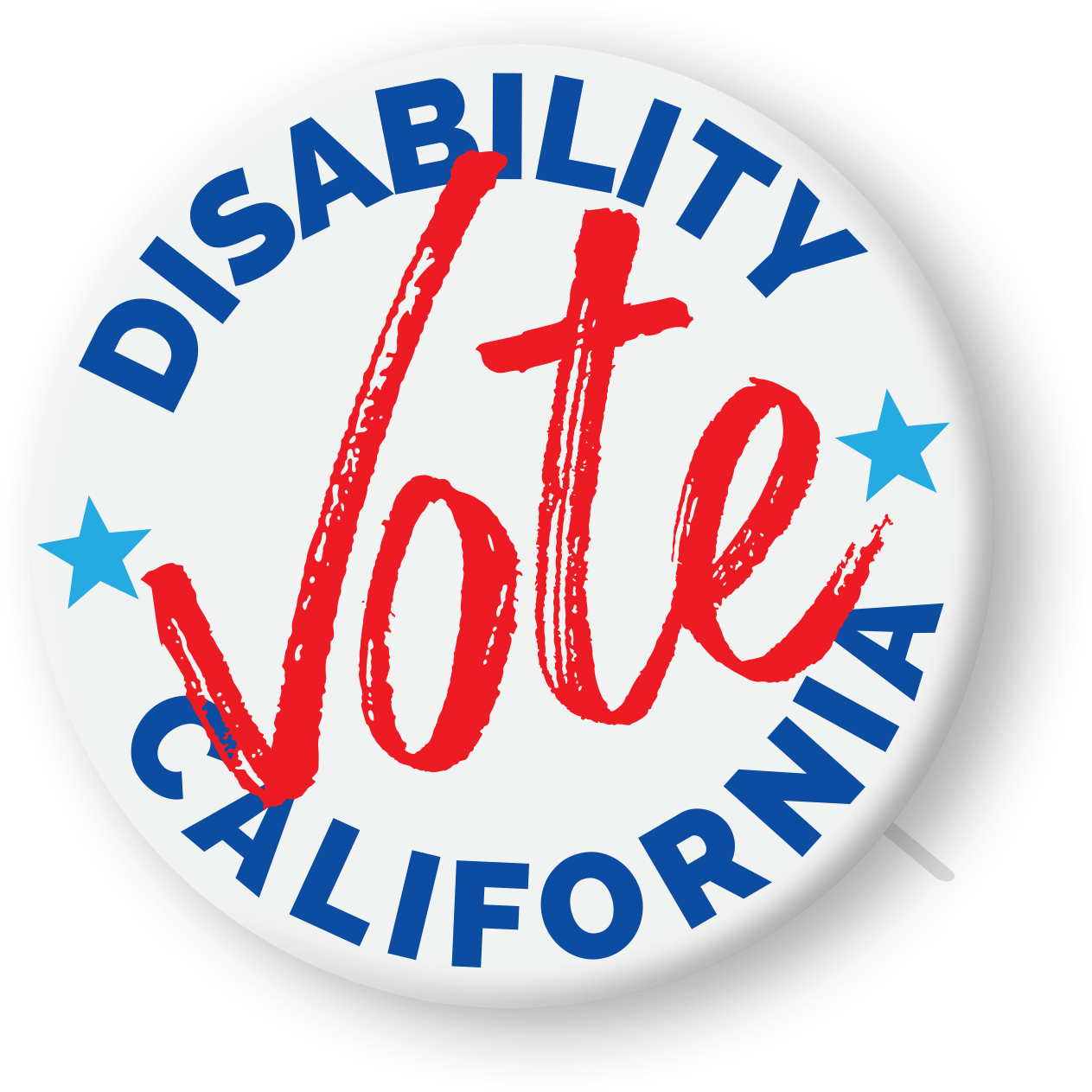 "The Disability Vote California logo. It looks like a white political button with ""Disability Vote California"" written on it. 'Disability' and 'California' are in blue text; Vote is in large red text in the middle of the button. There are 2 light blue stars on either side of the word VOTE."